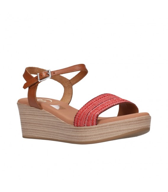 OH MY SANDALS 4686 ROJO CON ROBLE Mujer Rojo
